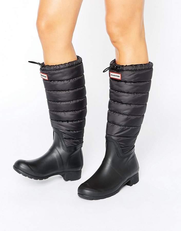 HunterHunter Original Black Quilted Leg Wellington Boots