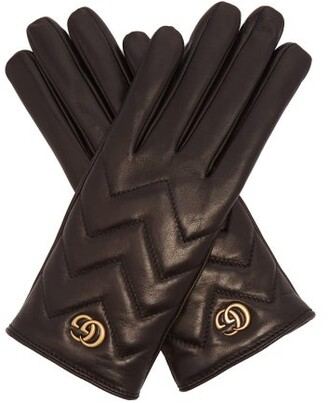 Gucci Gg Marmont Chevron Quilted Leather Gloves - Womens - Black