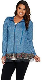 LOGO by Lori Goldstein Sweater Knit Zip FrontHoodie w/ Trim