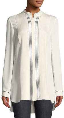 Elie Tahari Sydney Pleated-Bib Silk Tunic