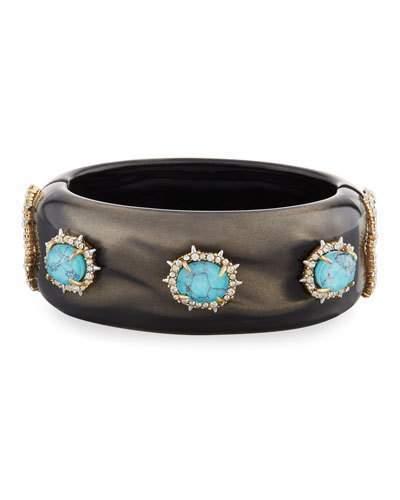 Alexis BittarAlexis Bittar Satin Liquid Hinge Bracelet, Dark Gray/Turquoise