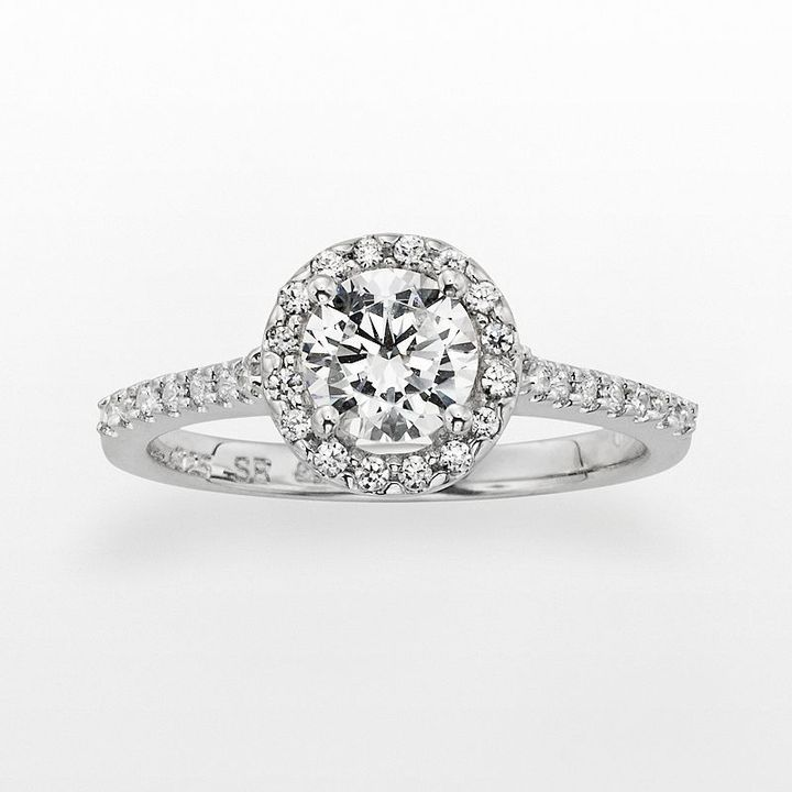 Diamonore sterling silver 1-ct. t.w. simulated diamond halo ring