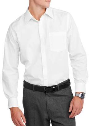 George Men's Slim Fit Long Sleeve Solid Poplin Dress Shirt