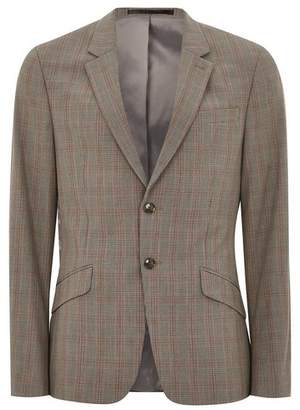 Topman Mens Blue Brown Check Muscle Suit Jacket