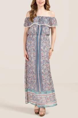 francesca's Lacey Off The Shoulder Pom Trim Maxi Dress - Black