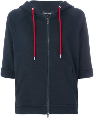 Emporio Armani short-sleeve zip-up hoodie