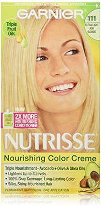 Garnier Nutrisse Nourishing Color Creme, 111 Extra-Light Ash Blonde (White Chocolate) (Packaging May Vary) $8.22 thestylecure.com