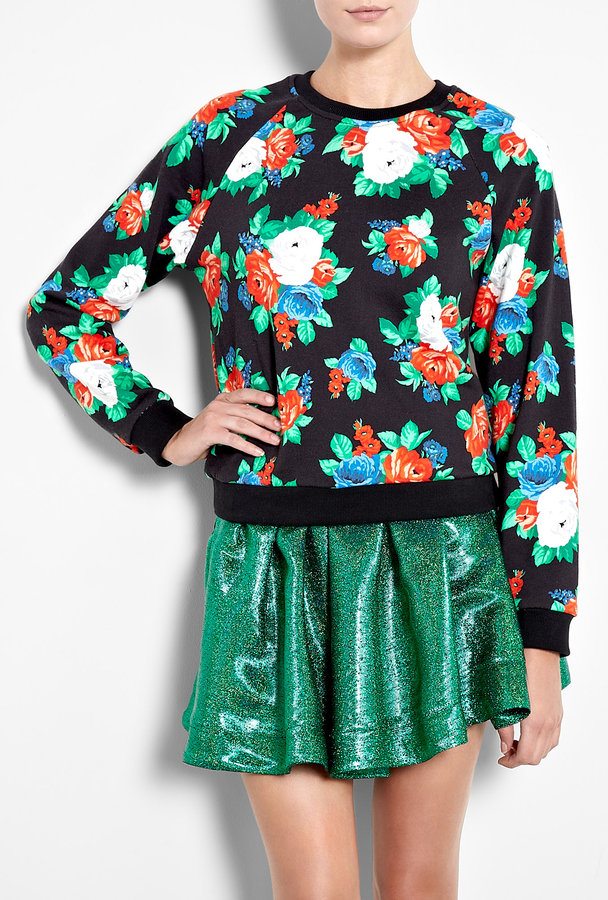 MSGM Black Floral Printed Sweater