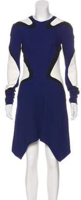 Thierry Mugler Colorblock Asymmetrical Dress Navy Colorblock Asymmetrical Dress