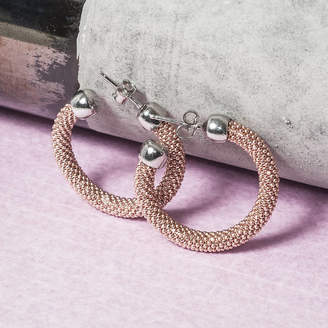 Co Loel & Rose Gold Diamond Cut Hoop Earrings