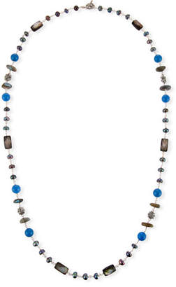 Stephen Dweck Pearl & Blue Agate Beaded Station Necklace, 32""