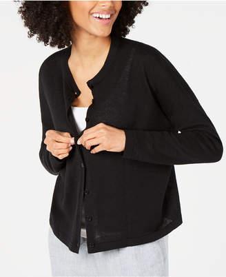 Eileen Fisher Organic Linen & Organic Cotton Button-Front Cardigan