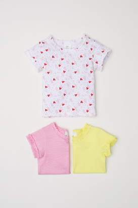 H&M 3-pack Jersey Tops - Yellow