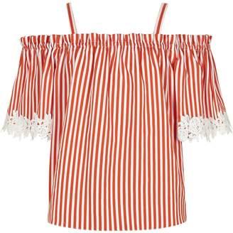 River Island Girls orange stripe lace trim bardot top