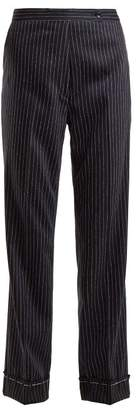 Golden Goose Venice Pinstriped Wool And Silk Blend Trousers - Womens - Navy Stripe