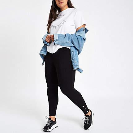 Womens Plus Black button trim leggings