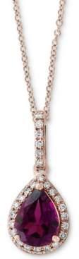 "Effy Rhodolite Garnet (1 ct. t.w.) & Diamond (1/10 ct. t.w.) 18"" Pendant Necklace in 14k Rose Gold"