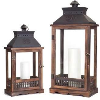 Melrose Intl. 2 Piece Wood/Metal/Glass Lantern Set