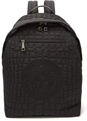 Versace Quilted Nylon Backpack - Mens - Black