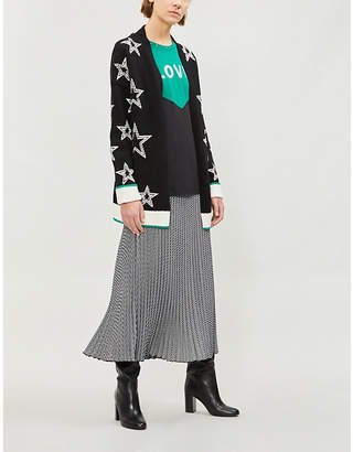 Maje Star-patterned knitted cardigan