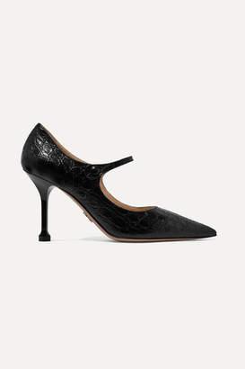 Prada 90 Croc-effect Leather Mary Jane Pumps - Black