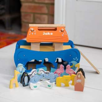 Harmony at Home Children's Eco Boutique Personalised Wooden Noah's Ark Shape Sorter