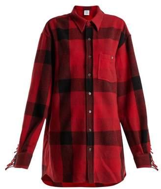 Vetements Fringed Sleeve Oversized Wool Blend Shirt - Womens - Red Multi