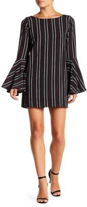 Just Me Striped Bell Sleeve Dress