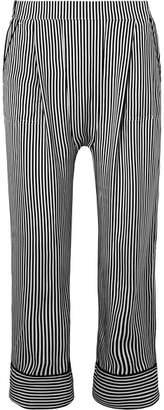 The Great The Pyjama Cropped Striped Silk Wide-leg Pants - Black