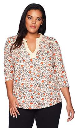 Lucky Brand Women's Size Plus Floral TIE TOP