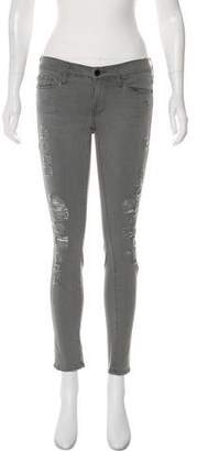 Frame Low-Rise Distressed Skinny Jeans