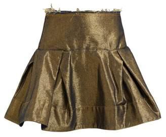 Marques Almeida Marques'almeida - Raw Edge Metallic Denim Mini Skirt - Womens - Gold