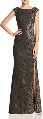 Adrianna Papell Metallic Jacquard Gown