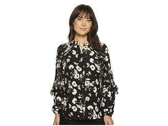 Lauren Ralph Lauren Floral Ruffled Georgette Shirt Women's Clothing