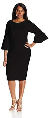 Calvin Klein Women's Plus Size 3/4 Peplum Sleeve Sheath Dress