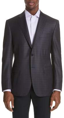 Canali Classic Fit Plaid Wool Sport Coat
