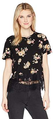 Jolt Women's Floral Knit Flutter Sleeve Top With Lace