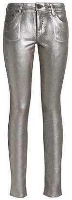Roberto Cavalli Metallic Mid-Rise Skinny Jeans