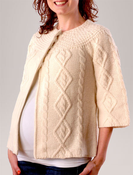 3/4 Sleeve Patterned Stitch   Maternity Sweater Jacket