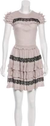 RED Valentino Ruffle-Trimmed Virgin Wool Dress
