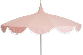 One Kings Lane Dani Pom-Pom Patio Umbrella - Light Pink
