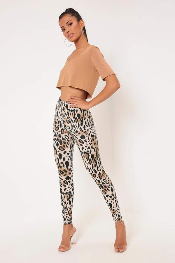 Isawitfirst Brown Leopard Print Jersey Leggings