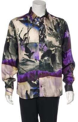 Just Cavalli Silk Abstract Print Button-Up Shirt