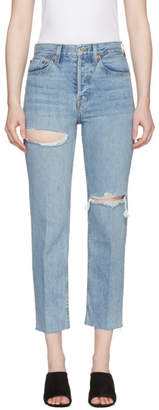 RE/DONE Blue Originals Stove Pipe Rips Jeans