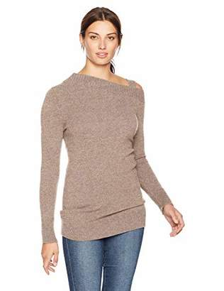 Lark & Ro Women's 100% Cashmere Off-Shoulder Sweater with Removable Strap