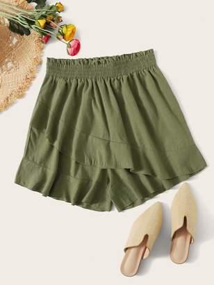 Shein Plus Ruffle Shirred Waist Shorts