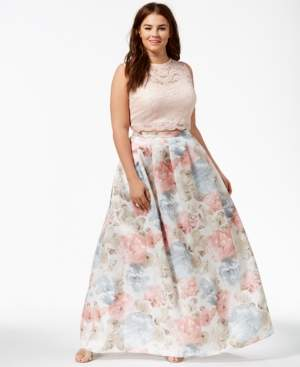 Morgan & Company Trendy Plus Size 2-Pc. Floral-Print Gown