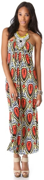T-Bags Tbags los angeles Embellished Halter Maxi Dress