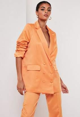 Missguided Orange Co Ord Satin Masculine Oversized Blazer