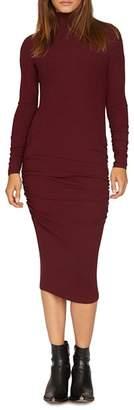 Sanctuary Long-Sleeve Ruched Midi Dress